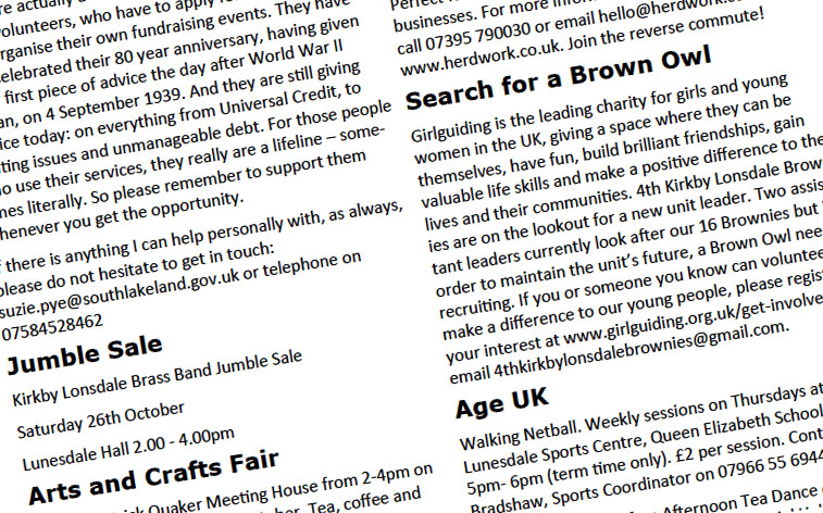 Sample extract from the around Kirkby Lonsdale magazine