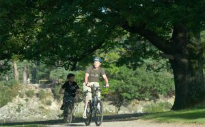 Family cycling in Borrowdale, Cumbria. Image by Cumbria Tourism