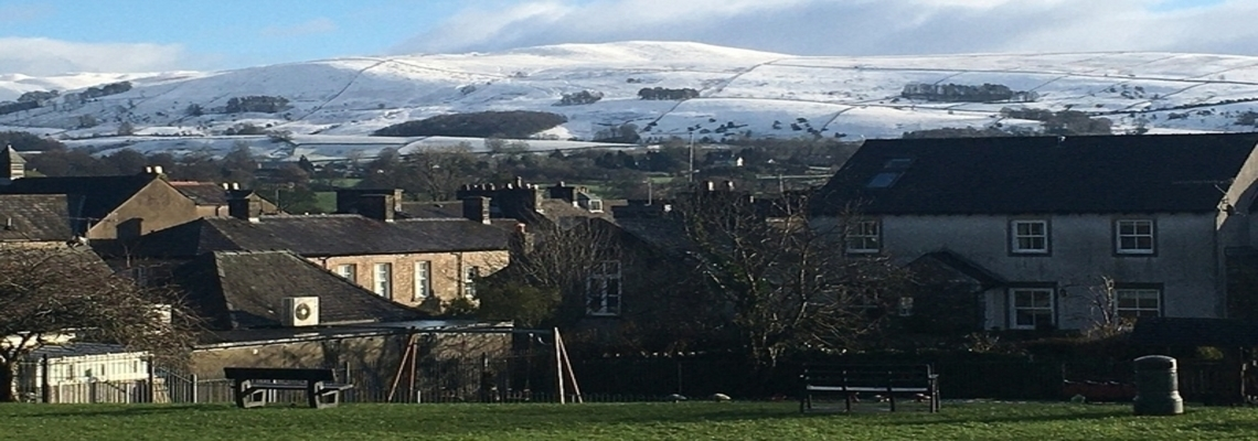View of snow covered hills from Kirkby Lonsdale