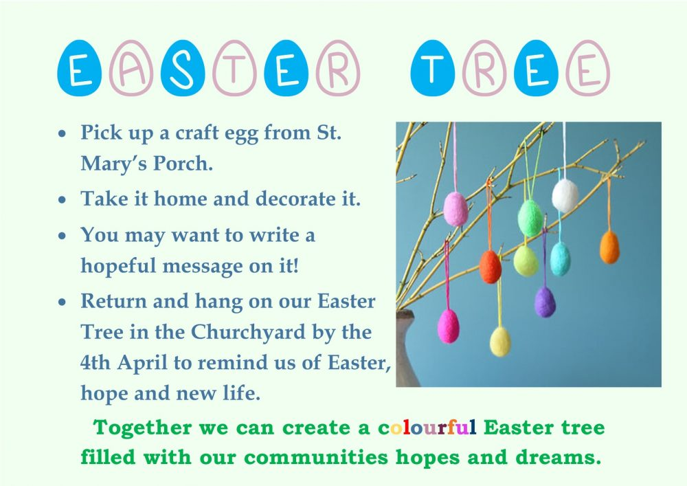 Poster for the Easter tree in St Mary's churchyard Kirkby Lonsdale