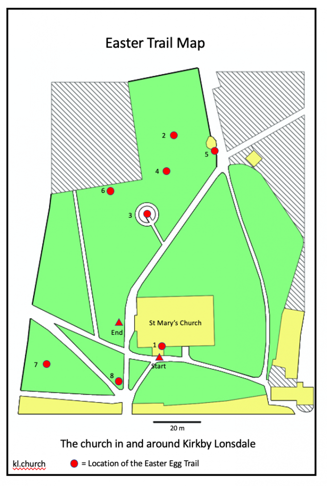 Map of St Mary's Churchyard Easter Trail