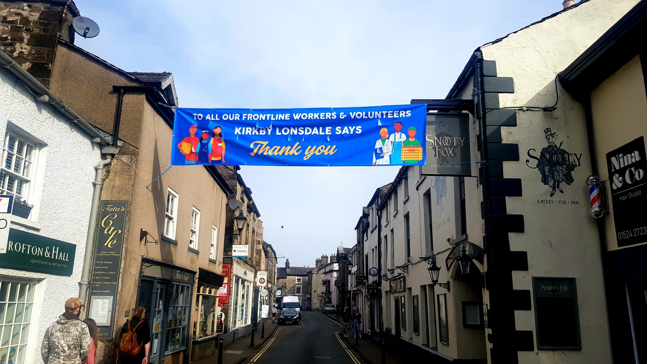 Thank you banner across Main Street in Kirkby Lonsdale