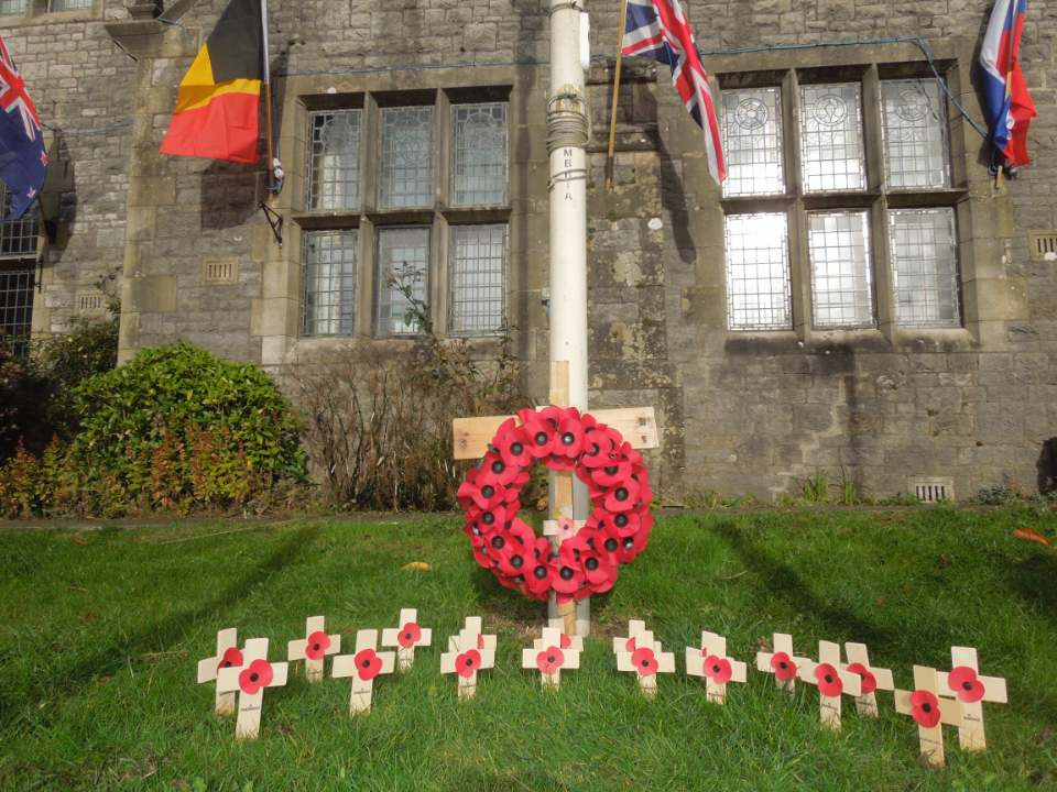Poppy display outside Lunesdale Hall